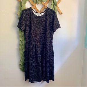 LuLaRoe Black With Gray Floral Print Amelia Dress